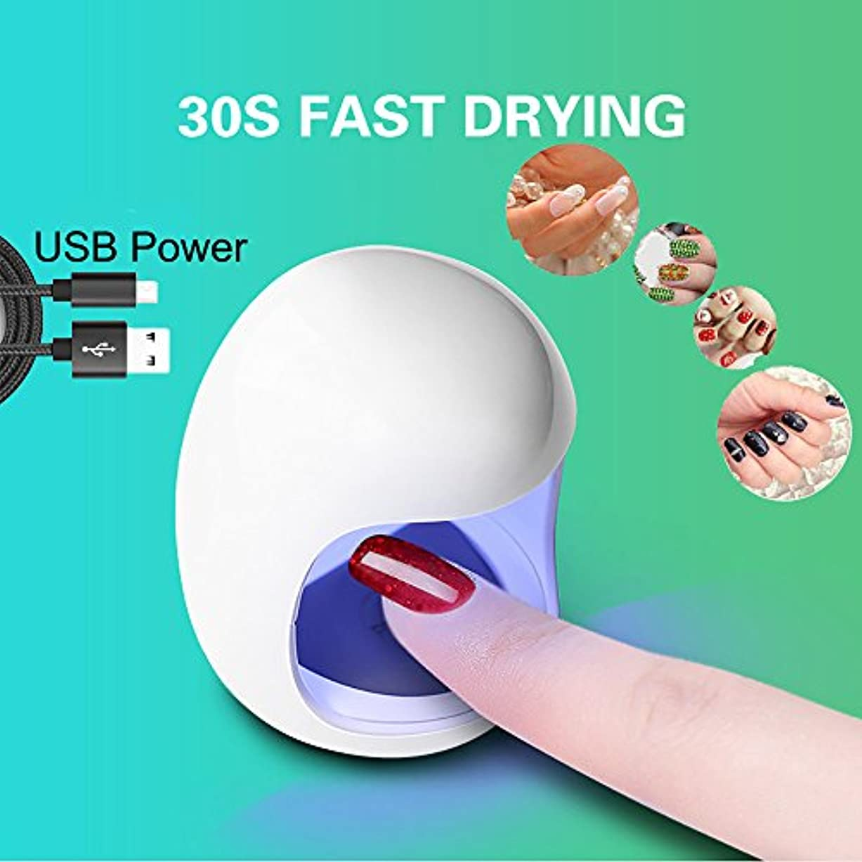 船尾ピカソ九月ネイルドライヤー ミニシングルフィンガーネイルマシン USB UVネイルジェル硬化ライトライトネイルジェル研磨ドライヤーマニキュア機 (ホワイト)
