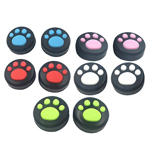 Zhhlinyuan アクセサリ/アクセサリーキット 5 Pairs Silicone Thumbsticks Caps Cute Cat's Paw Handle Joystick Cover Cap for Nintend Switch Controller