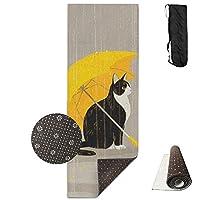 Cat withイエロー傘ヨガマット–高度なヨガマット–ノンスリップ裏地–簡単に掃除–ラテックスフリー–軽量、耐久性–Long 180幅61cm