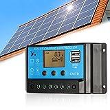 Anself 10A 12V/24V LCDソーラー充電コントローラ 電流ディスプレイ ラソーラーパネル 自動調整スイッチ 過負荷保護()