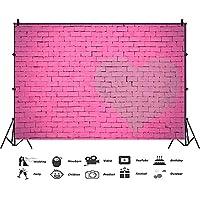 バレンタインデーの誕生日ウェディングパーティーのバックドロップのためのバレンタインデーピンクのレンガの壁の写真の背景、ビニール折り畳み式の写真の背景の小道具,6x10ft