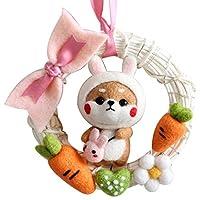 Manyao LEDライト付きウサギ人形籐リングDIY非仕上げウールフェルトは、手作りのクラフトキットは、針材料バッグパッケージ