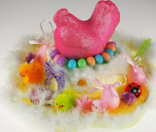 Girls Ready Made Decorated Easter Bonnet帽子–ピンクGiant Chicken
