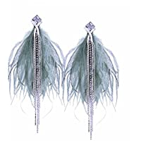 TIDOO Jewelry Fashion Tassels Cubic Zirconia Earring Stud for Girls Long Feather Earring