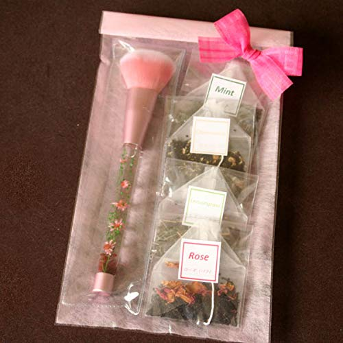 「ピンク・ハーバリウム・メイクブラシ&ハーブティ」水中花アレンジメントが彩るチークブラシと4種類のハーブ紅茶のギフトセット(ローズ・カモミール・レモングラス・ミント) 母の日に