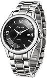 Comtex メンズ腕時計 ステンレスバンド カレンダー表示 クオーツ時計 (ブラックアラビア数字)