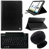 VanGoddy Arthur 11.6インチタブレットポートフォリオケースfor Dell Inspiron 113000withブラックBluetoothスピーカー&ワイヤレスキーボード(ブラック)