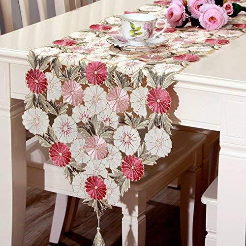 ファッションホーム-おしゃれ 可愛いらしい テーブルランナー 三色花柄刺繍 色とりどり ボタニカル 植物柄 自然派 インテリア アクセント タッセル付き