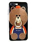 iPhone 6S Plus保護ケース 3Dテディベア ブラウン キラキラ光る かわいい ソフトなシリコンゴム製 iPhone 6 Plus / 6s Plus LA-02187