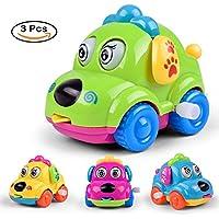 greatlove電源チェーン慣性車のおもちゃ、子供の初期の教育幼児用ベビーおもちゃ/男の子/女の子/子供ギフト、3ピース – ランダムカラー