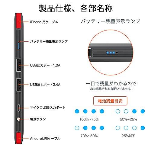 TSUNEO『モバイルバッテリーライトニング/microUSBコネクタ付』