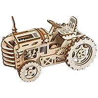 クリエイティブな4種類 DIY 木製玩具 振り子時計 トラクター エアシップ 機関車 機械模型 組み立てキット 木製玩具 子供 十代 大人向けギフト KKKK146