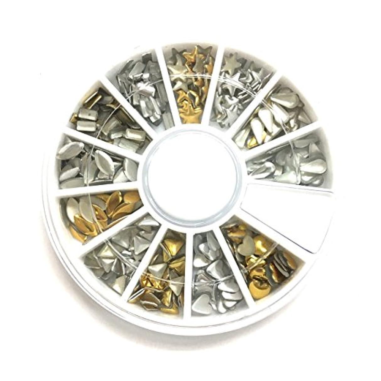 データパラシュートパトロール【ネイルウーマン】メタルスタッズ 12種類セット ゴールド シルバー ラウンドケース入り