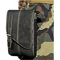 Le'aokuu Men Genuine Leather Hook Messenger Bag Shoulder Satchel Fanny Waist Belt Pack Pouch for Daily Life Cycling Hiking