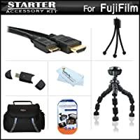 スターターアクセサリーキットfor the Fuji Fujifilm X - Pro 1、X - pro1、x-a2デジタルカメラはデラックス携帯ケース+ 7柔軟な三脚+ Mini HDMIケーブル+ USB高速SDリーダー+ LCDスクリーンプロテクター+ミニ卓上三脚+マイクロファイバークリーニングクロス