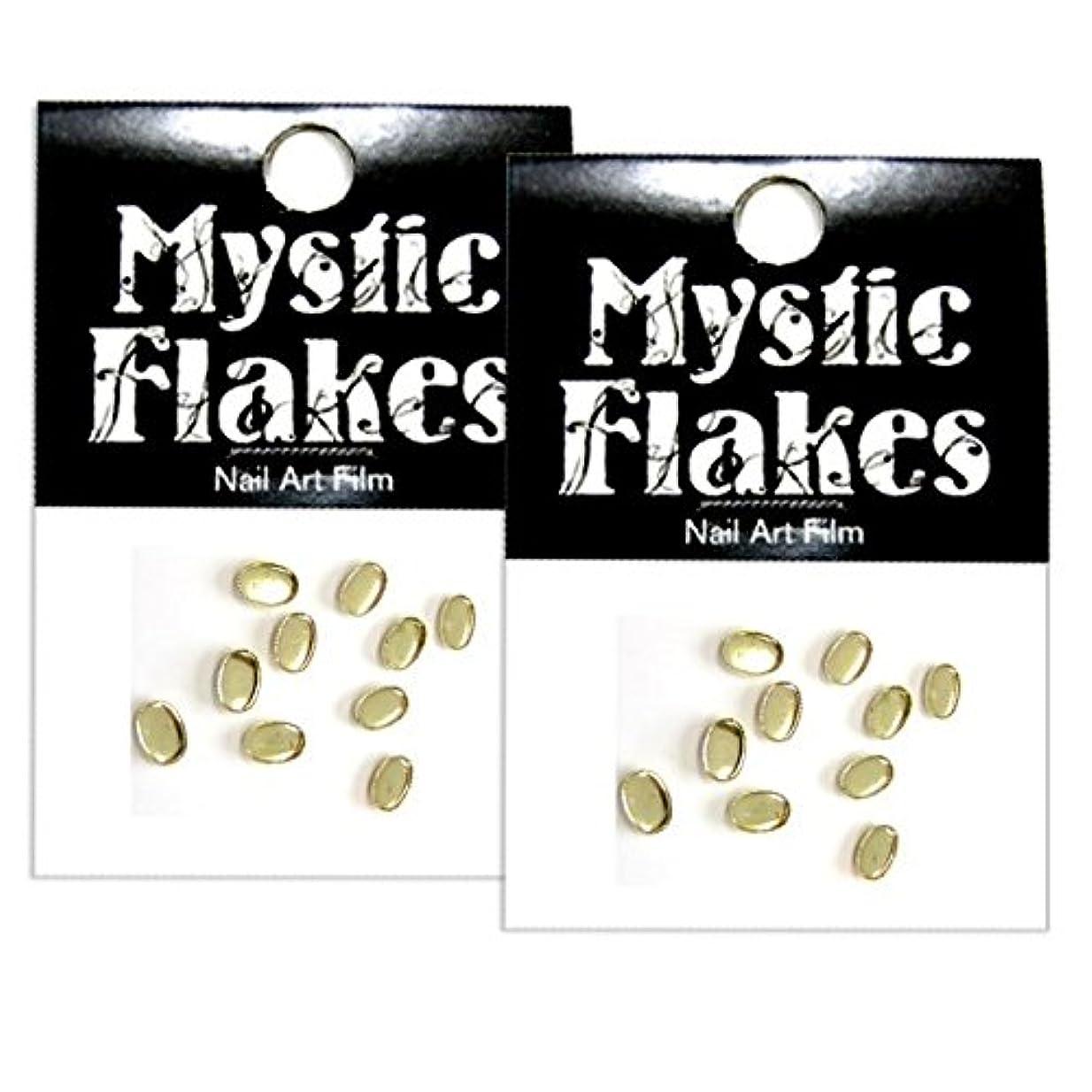 酸度れる衰えるミスティックフレース ネイル用ストーン ストーンディッシュ オーバル ゴールド 4*6mm 10P 2個セット