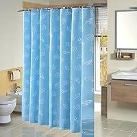 HARU(ハル)シャワー カーテン 北欧 バスルーム カーテン おしゃれ モザイクタイル 120/150/180×180cm 浴室 防水 防カビ加工 専用リング付き 間仕切り 目隠し用 取付簡単 (120*180, 地中海)