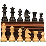 German Knight Stauntonチェスセットin Ebonized Boxwood & Boxwood with Macassarボックス – 2.75
