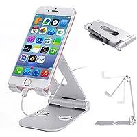 WELUV 携帯スマホスタンド 2重折りたたみデスクトップスタンド 角度調整可能 充電対応 iPhone iPadなどIOS用 samsung sonyなどアンドロイド用 (シルバー)