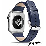 ICARER アップルウォッチ バンド 本革 牛革 ラグジュアリーレザー for Apple Watch Series 1 / Apple Watch Series 2 全4色 RIW107 38mm ブルー 【日本正規代理店品】