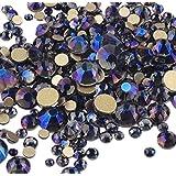 XIULI 大容量 カラー ラインストーン DIY ネイルを飾てと服装使用 高い採光 約3*1440=4320粒(ss3-20混合サイズ) (バイオレット4320)