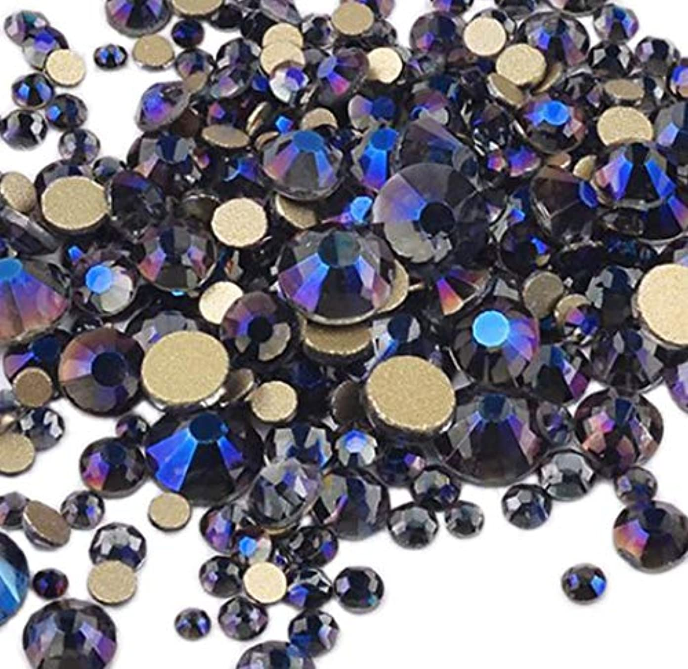 創始者考慮符号XIULI 大容量 カラー ラインストーン DIY ネイルを飾てと服装使用 高い採光 約3*1440=4320粒(ss3-20混合サイズ) (バイオレット4320)
