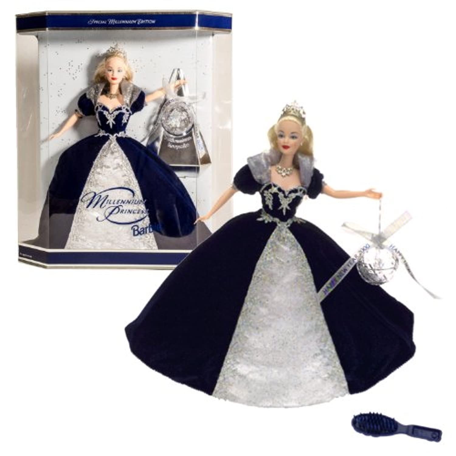 Holiday Barbie Special Millenium Edition Mattel Year 1999 2000 with Glitter Background inside Box by Barbie