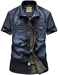 Keaac 男性のファッションビンテージ半袖ボタンダウンシャツデニム