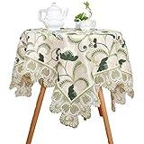 刺繍 レース テーブル, 装飾的です テーブルカバー ヴィンテージ 防塵 テーブルトッパー 2層ファブリック テーブルランナー コーヒー 紅茶 パーティ テーブル クロス 食品-a 130x130cm(51x51inch)