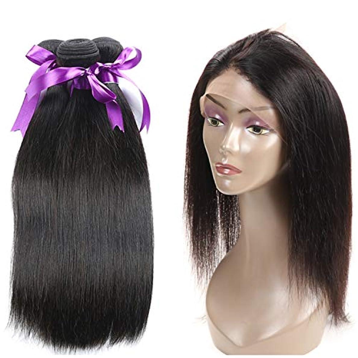 絡み合いバケツ面白いかつら ブラジルストレートヘア360レース前頭葉付き非レミー人間の髪の毛3バンドル360前頭人間の髪の毛のかつら (Length : 14 14 16 Closure12)