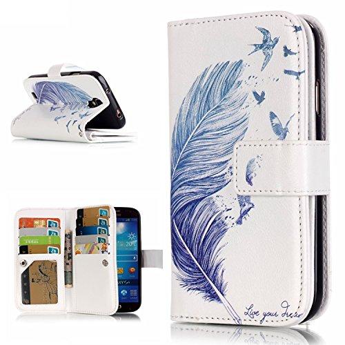 OMATENTI Samsung Galaxy S4 用 PUレザー手帳型ケース [無期限生涯補償付き] 耐摩擦 耐汚れ 全面保護 フリップ 人気 横開き スマートフォン カバー (フェザー #2)