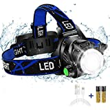 Super Bright Headlamp, USB Rechargeable Led Head Lamp, IPX4 Zoomable Waterproof Headlight with 4 Modes and Adjustable Headband, Hard Hat Light Perfect for Camping, Hiking, Outdoors, Hunting, Running