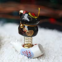 gotor® 招き猫 スプリングの猫 自動車装飾品 車内の置物 インテリア 平安を祈る (6#)