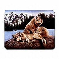 マウスパッド、オオカミワイルドウルフの森の装飾コンピュータのPCマウスパッドマットマウスパッド新しい!