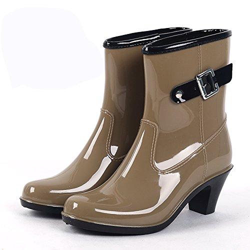 (Wansi) レディース ミドル レイン ブーツ シューズ レインブーツ 雨靴 長靴 長ぐつ 梅雨対策 滑り止め レインシューズ レイングッズ ビジネス アウトドア おしゃれ 雨靴 ブラワン 23cm