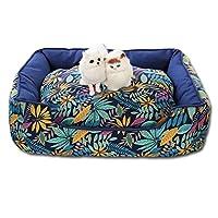犬用ベッド 猫用ベッド ペットベッド おしゃれ スクエア柄 取り出せる 洗える 2way ハワイ風 民族風 北欧風 丈夫 耐噛み 吸湿通気 フカフカ ふわふわ 精巧 ぐっすり眠れる クッション 寝床 四季通用