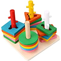 Peradix 積み木 ブロック 知育玩具 木のおもちゃ カラー形状数量の認知