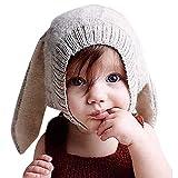(Rarihima) ニット 帽 赤ちゃん 帽子 うさぎ 耳 ニット帽 防寒 子供 ベビー ニット帽 (グレー)