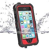 iPhone5s ケース iphone SE ケース ZVE? 防水ケース アイフォン5ケース 多機能スマホケース 防塵 耐衝撃カバー 指紋認識可 液晶保護フィルム付き (iphone5/5S/SE レッド)