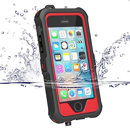 iPhone5s ケース iphone SE ケース ZVE® 防水ケース アイフォン5ケース 多機能スマホケース 防塵 耐衝撃カバー 指紋認識可 液晶保護フィルム付き (iphone5/5S/SE レッド)