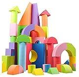 (E&S) 可愛くてカラフル EVA素材 積み木 ブロック 知育玩具 軽量 柔らかい あたっても痛くない 収納袋 子供 キッズ プレゼント(50ピース)