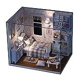 CuteBee 手作りハウスキット、ひとり暮らし西洋風部屋、木製ハウスミニチュア家具キット、LEDライト、ダストカバー、DIY木製工芸品モデルコレクション(sunshine overflowing)