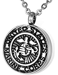 HOUSWEETY メモリアル ネックレス ペンダント メンズ レディース アメリカ海兵隊紋章デザイン USMC 色:銀古美