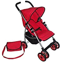 Swivel Wheels Single Doll Stroller - SUPERIOR QUALITY Red Quilted Fabric- NEW LUXURY COLLECTION - with Free Diaper Bag [並行輸入品]
