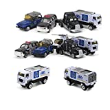 おもちゃ 自動車模型 ミニカー モデルカー 都市 1/64 パトカー等5台セット ヘリコプタ?、ジープ、トラック、SWAT車、パトカー 情景コレクション
