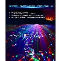 車のインテリアライトディスコボールパーティーライトポータブル回転ライトサウンドリモコン付き(カーホルダー吸引カップを含む)LEDライト