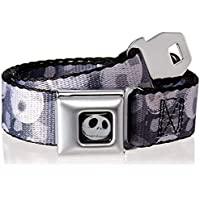 "Buckle-Down Men's Seatbelt Belt Nightmare Before Christmas Kids, Nightmare Before Christmas Jack Expression Stacked Black/Grays, 1.0"" Wide-20-36 Inches"
