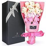 ソープフラワー 石鹸 花 バラ 造花 花束くま束 ベア ブーケ 可愛いぬいぐるみ (ベア6匹,花5匹) 父の日 誕生日 結婚祝い 結婚記念日のプレゼントにお勧め (ピンク) Yobansa