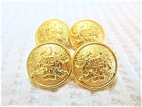 15mm 金色 家紋調 メタル 金属 ボタン 12個入り