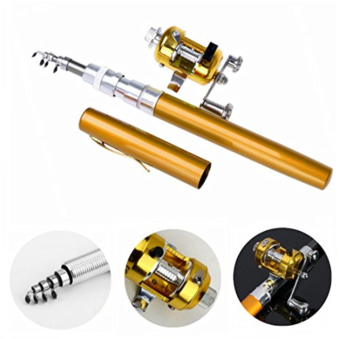 気質第二にパイDealzip Inc 38インチミニポータブルポケットアルミニウム合金釣りロッドラックペンとリールコンボ